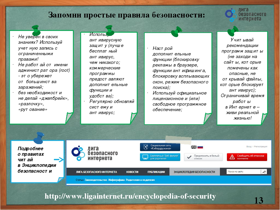 Запомни простые правила безопасности: http://www.ligainternet.ru/encyclopedia...