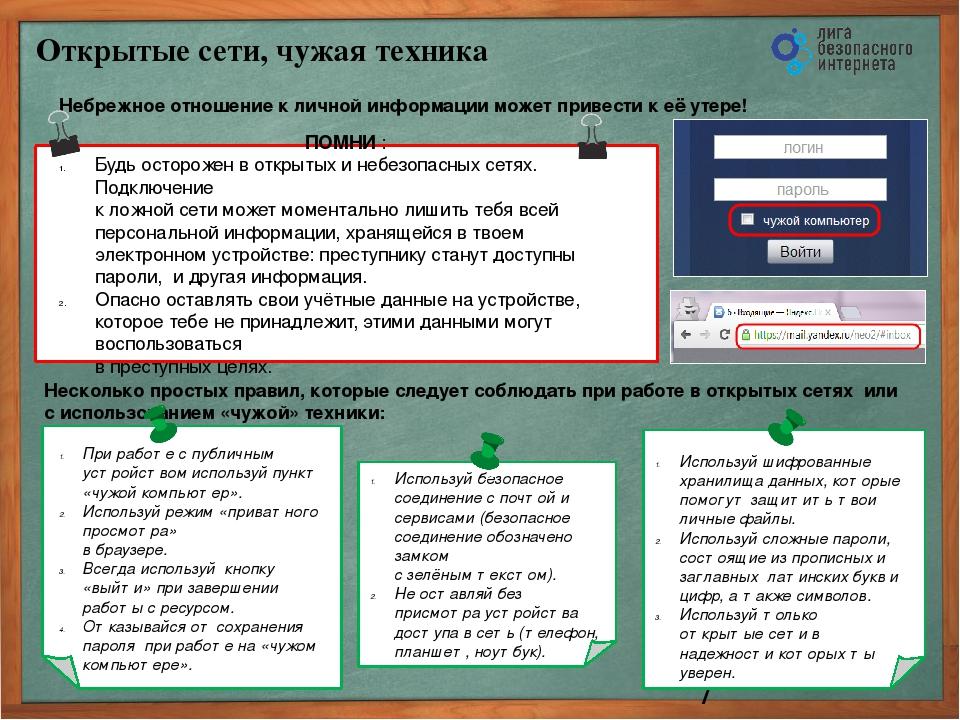 Открытые сети, чужая техника Небрежное отношение к личной информации может п...