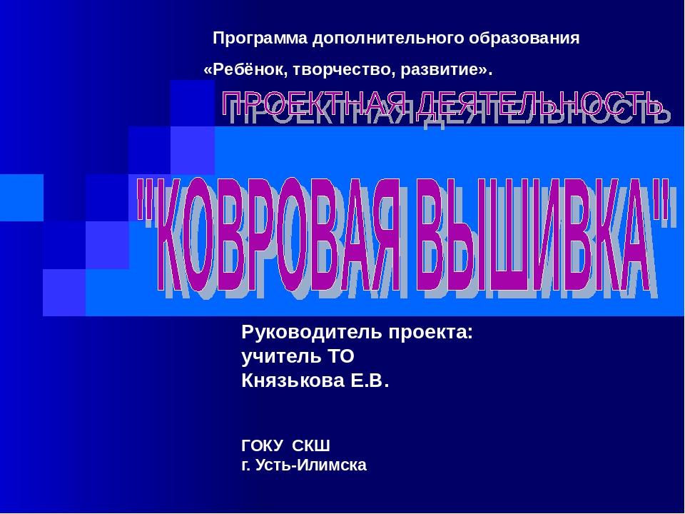 Руководитель проекта: учитель ТО Князькова Е.В. ГОКУ СКШ г. Усть-Илимска Прог...