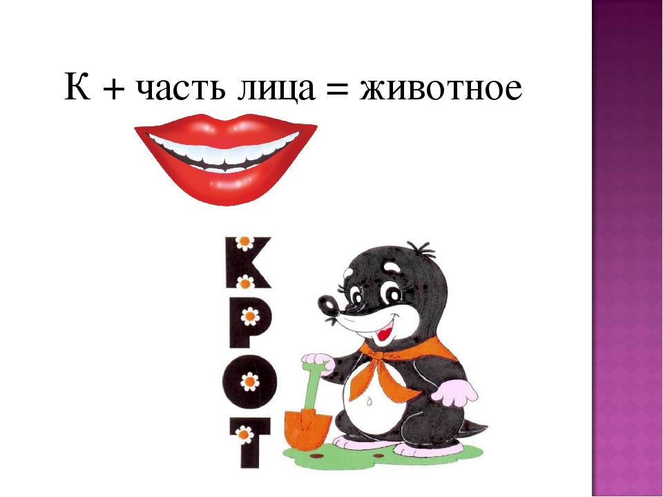 К + часть лица = животное