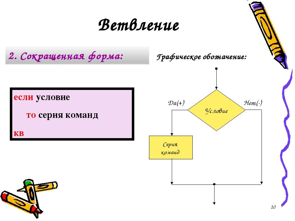 Графическое обозначение: 2. Сокращенная форма: если условие то серия команд к...