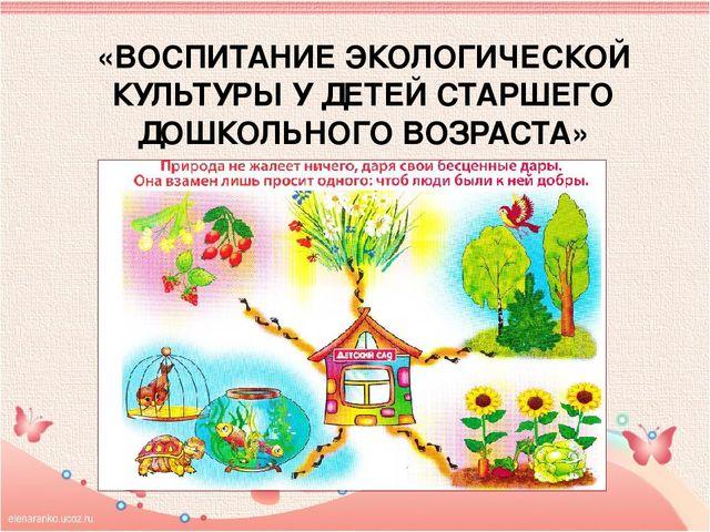 Дипломная работа экологическое воспитание детей старшего дошкольного возраста 7516