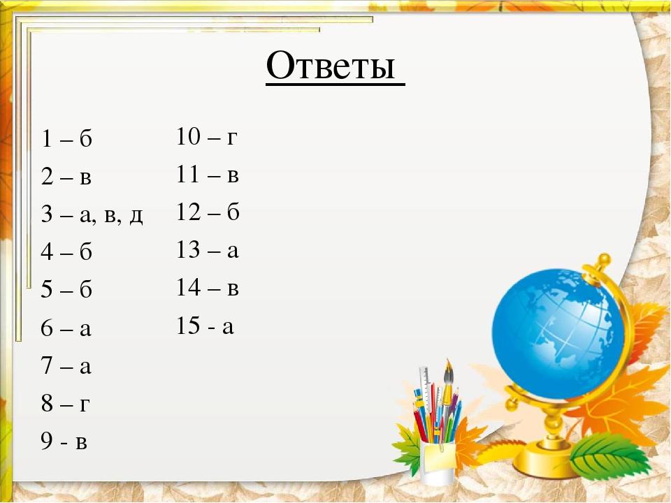 Ответы 1 – б 2 – в 3 – а, в, д 4 – б 5 – б 6 – а 7 – а 8 – г 9 - в 10 – г 11...