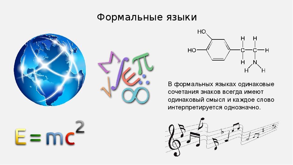 Формальные языки В формальных языках одинаковые сочетания знаков всегда имеют...