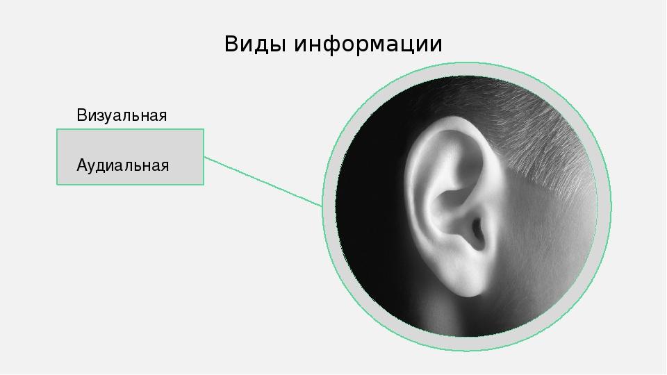 Визуальная Аудиальная Виды информации В качестве цвета вспомогательных линий...