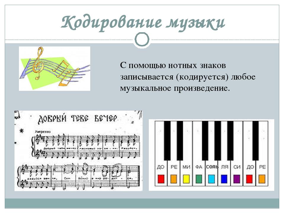Кодирование музыки С помощью нотных знаков записывается (кодируется) любое му...