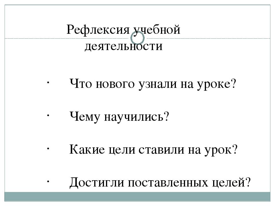 Рефлексия учебной деятельности Что нового узнали на уроке? Чему научились? Ка...
