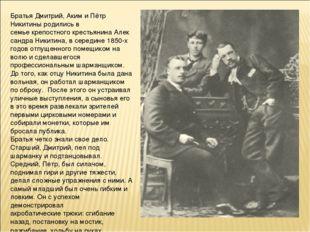 Братья Дмитрий, Аким и Пётр Никитины родились в семьекрепостногокрестьянина
