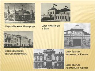Московский цирк братьев Никитиных. Цирк в Нижнем Новгороде Цирк Никитиных в Б