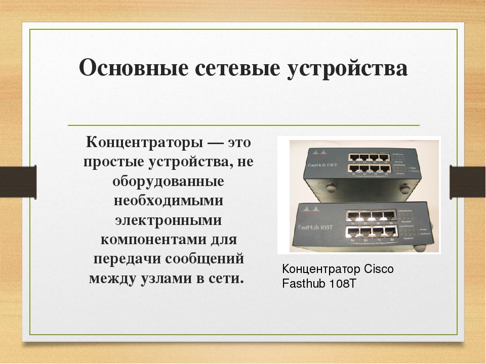 Основные сетевые устройства Концентраторы — это простые устройства, не оборуд...