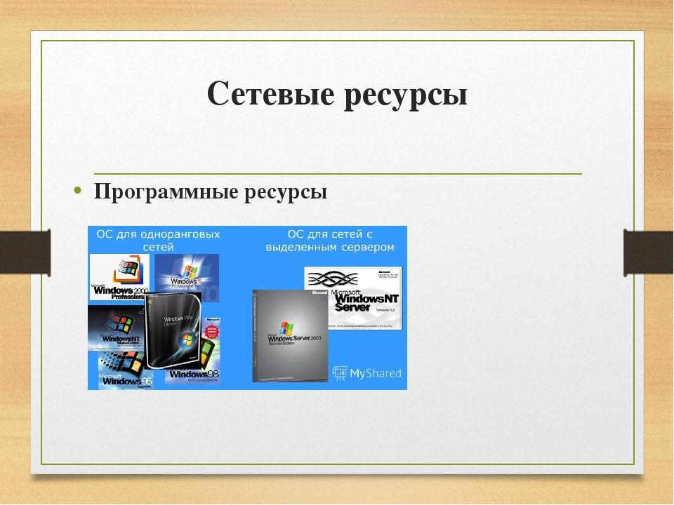 Сетевые ресурсы Программные ресурсы Кроме аппаратных ресурсов компьютерные се...