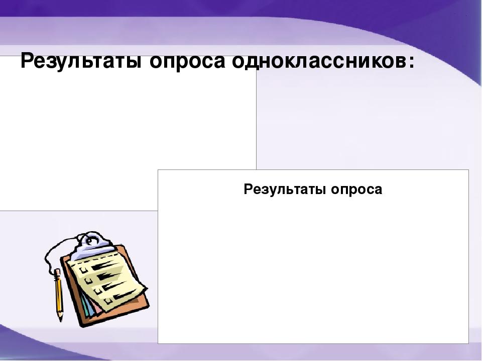 Результаты опроса одноклассников: