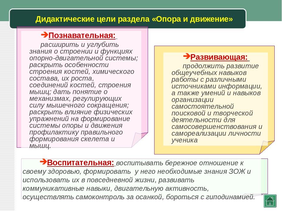 Дидактические цели раздела «Опора и движение»