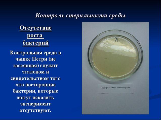 Исследовательская работа Свет видимый и невидимый класс Контроль стерильности среды Контрольная среда в чашке Петри не засеянная сл