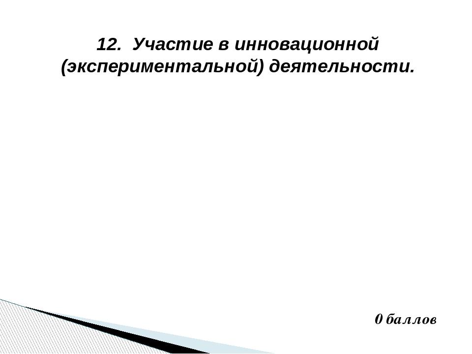 12. Участие в инновационной (экспериментальной) деятельности. 0 баллов