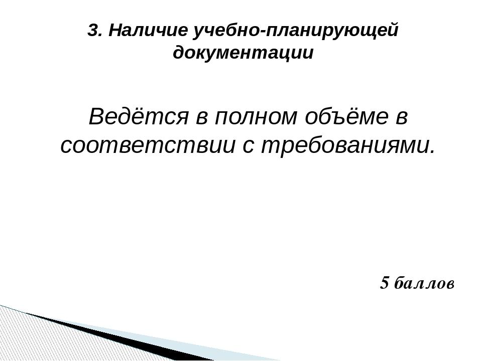 3. Наличие учебно-планирующей документации Ведётся в полном объёме в соответс...