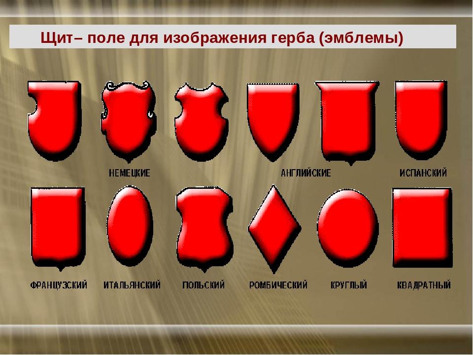 Щит– поле для изображения герба (эмблемы)