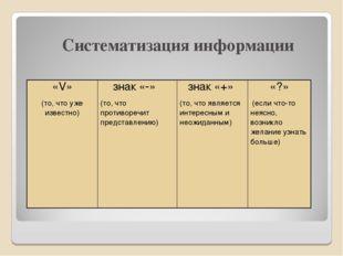 Систематизация информации «V» (то, что уже известно)знак «-» (то, что проти
