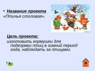 Цель проекта: изготовить кормушки для подкормки птиц в зимний период года, на