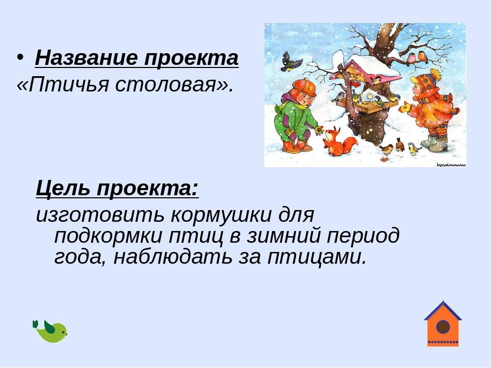 Цель проекта: изготовить кормушки для подкормки птиц в зимний период года, на...