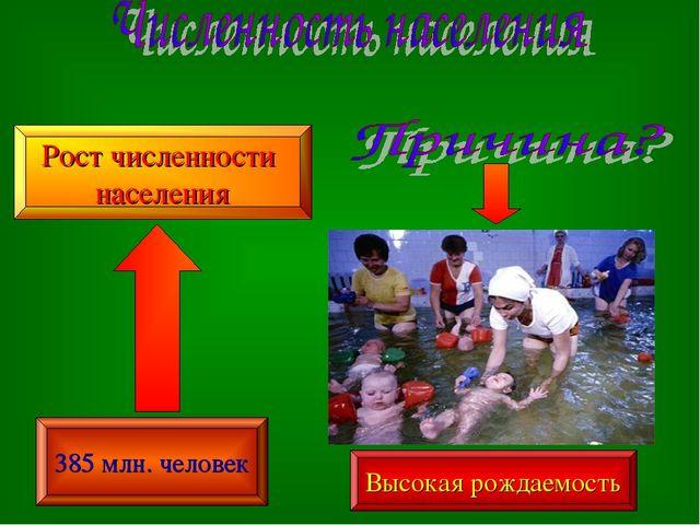 385 млн. человек Рост численности населения Высокая рождаемость
