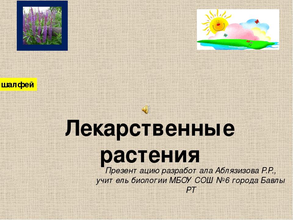 Презентацию разработала Аблязизова Р.Р., учитель биологии МБОУ СОШ №6 города...