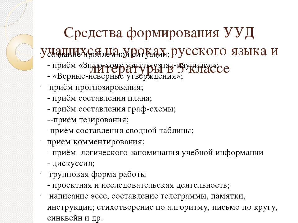 Средства формирования УУД учащихся на уроках русского языка и литературы в 5...