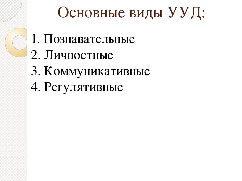 Основные виды УУД: 1. Познавательные 2. Личностные 3. Коммуникативные 4. Регу...