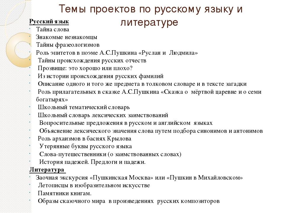 Темы проектов по русскому языку и литературе Русский язык Тайна слова Знакомы...