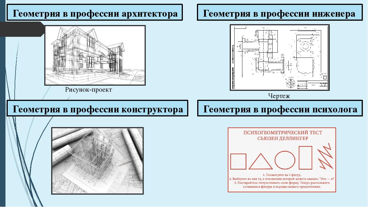 Геометрия в профессии архитектора Геометрия в профессии инженера Рисунок-про...
