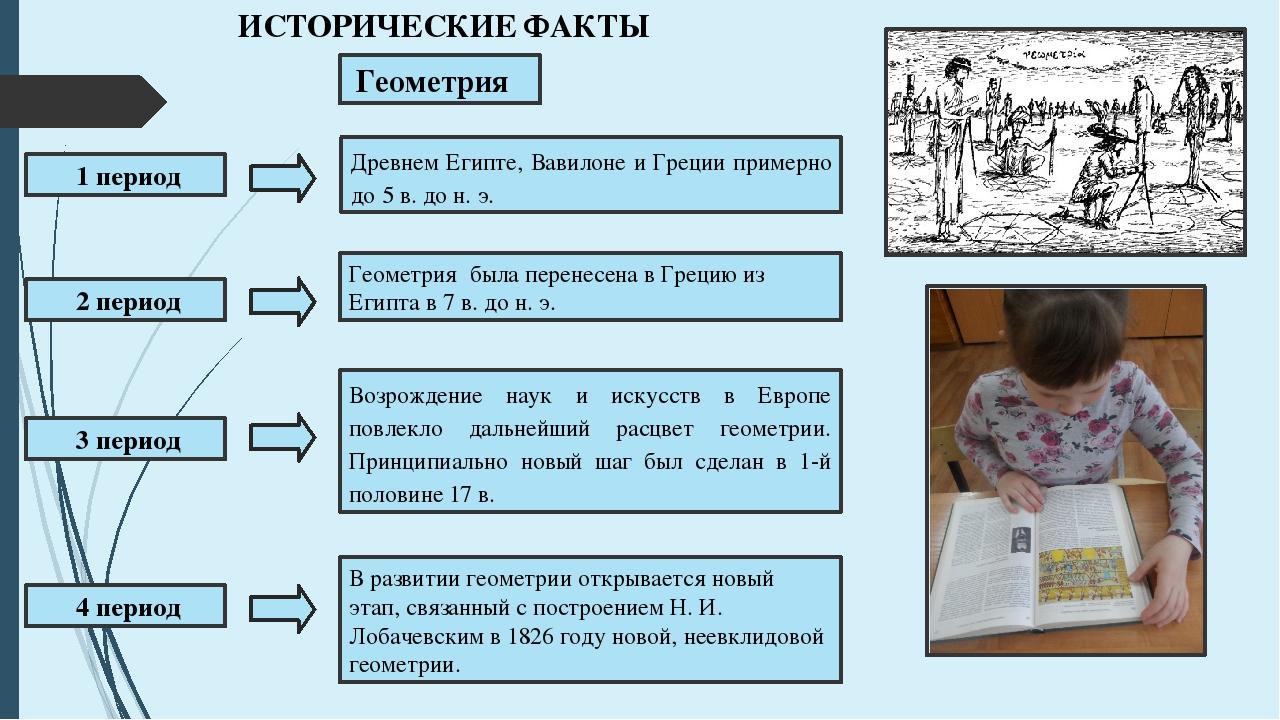 Геометрия ИСТОРИЧЕСКИЕ ФАКТЫ 1 период 3 период 2 период 4 период Древнем Еги...
