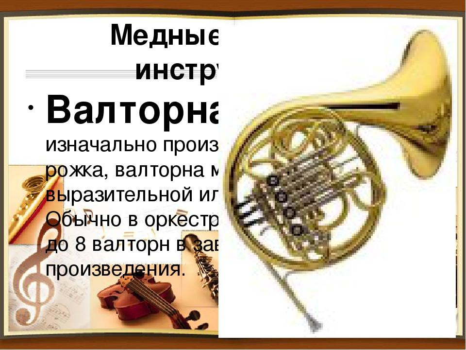 Медные духовые инструменты. Валторна (рожок) - изначально произошла от охотни...