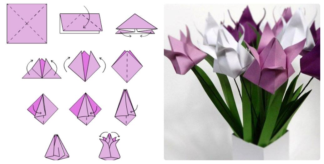 Оригами для открытки на 8 марта
