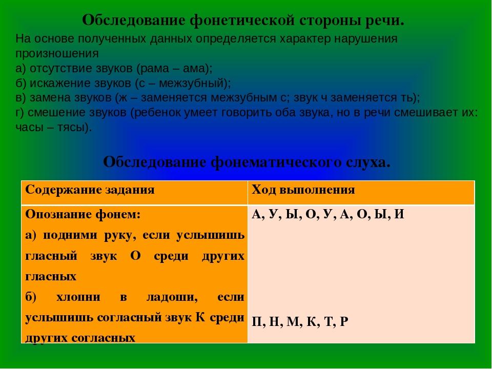 Обследование фонетической стороны речи. На основе полученных данных определяе...