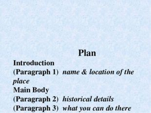 Plan Introduction (Paragraph 1) name & location of the place Main Body (Para