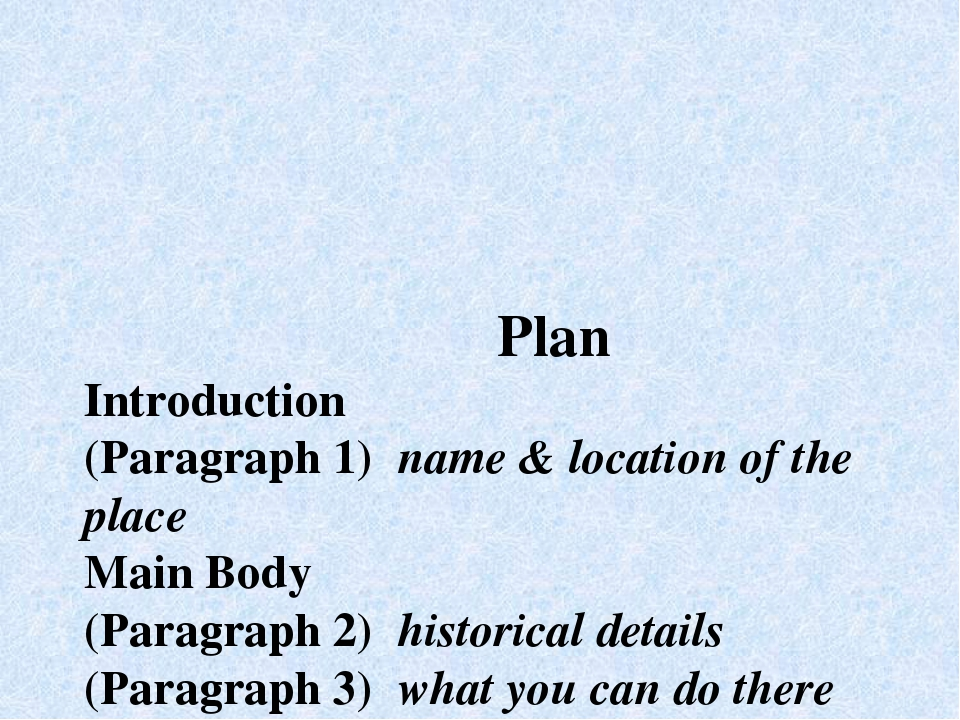 Plan Introduction (Paragraph 1) name & location of the place Main Body (Para...