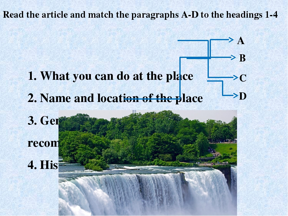 1. What you can do at the place 2. Name and location of the place	 3. General...