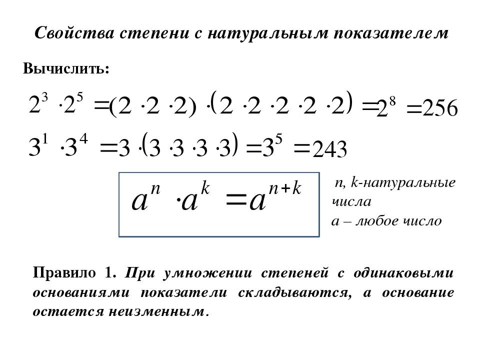 Свойства степени с натуральным показателем Вычислить: 256 243 n, k-натуральны...