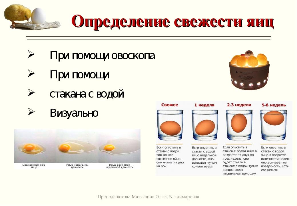 Картинка определение свежести яиц
