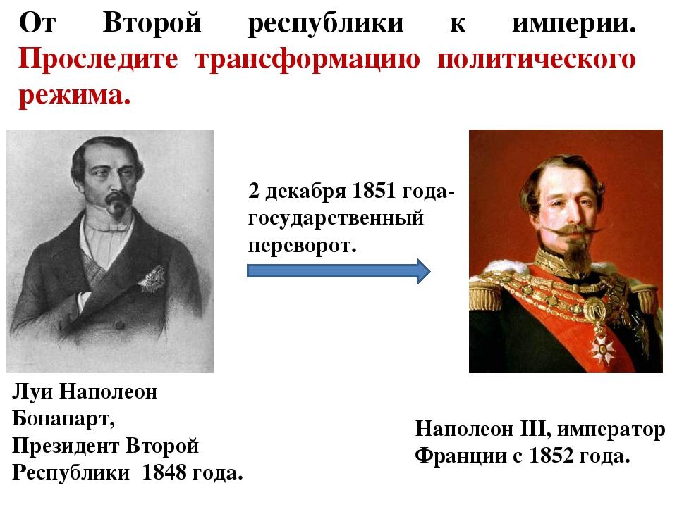 От Второй республики к империи. Проследите трансформацию политического режима...