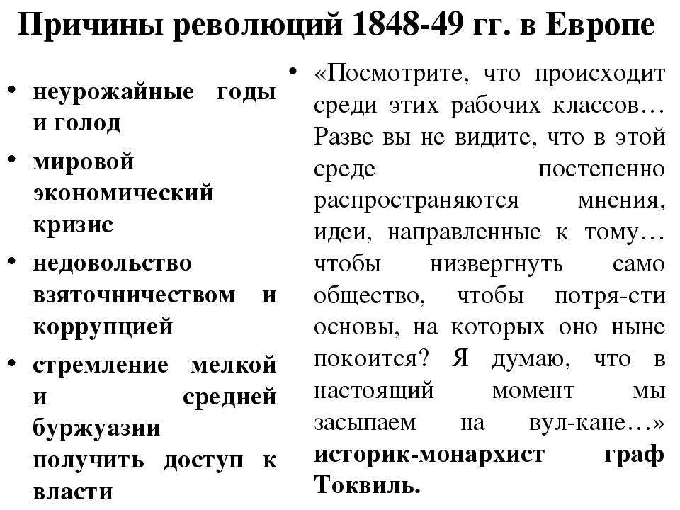 Причины революций 1848-49 гг. в Европе неурожайные годы и голод мировой эконо...