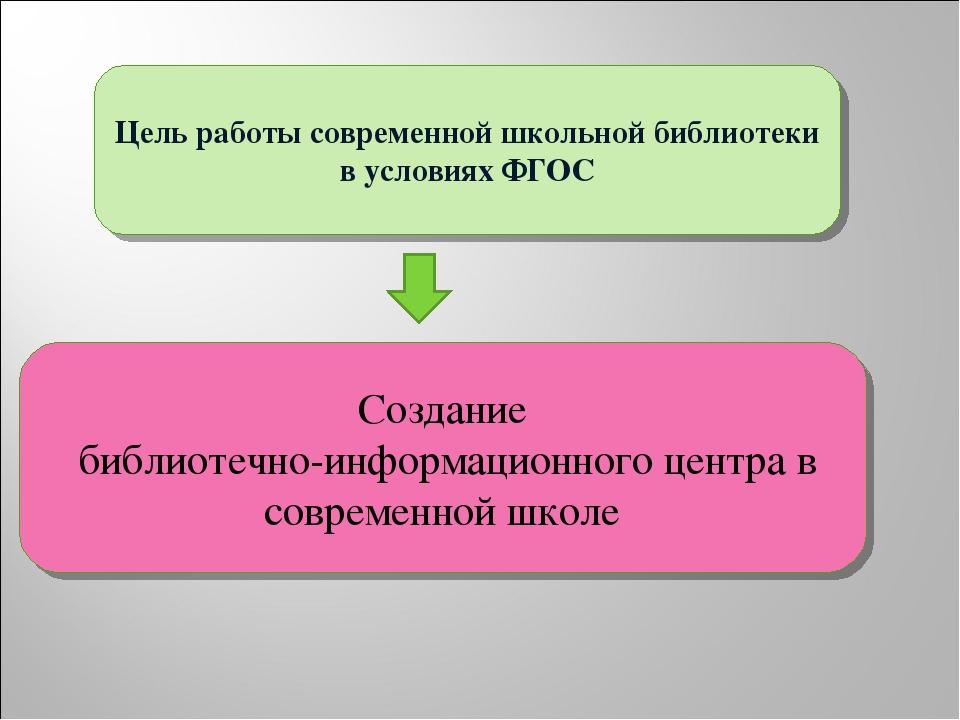 Цель работы современной школьной библиотеки в условиях ФГОС Создание библиоте...