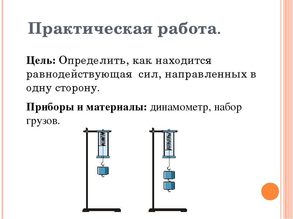 Практическая работа. Цель: Определить, как находится равнодействующая сил, на...