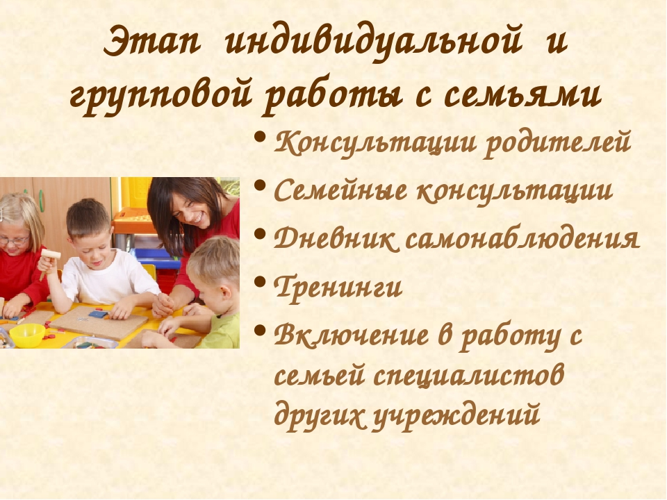 Этап индивидуальной и групповой работы с семьями Консультации родителей Семей...