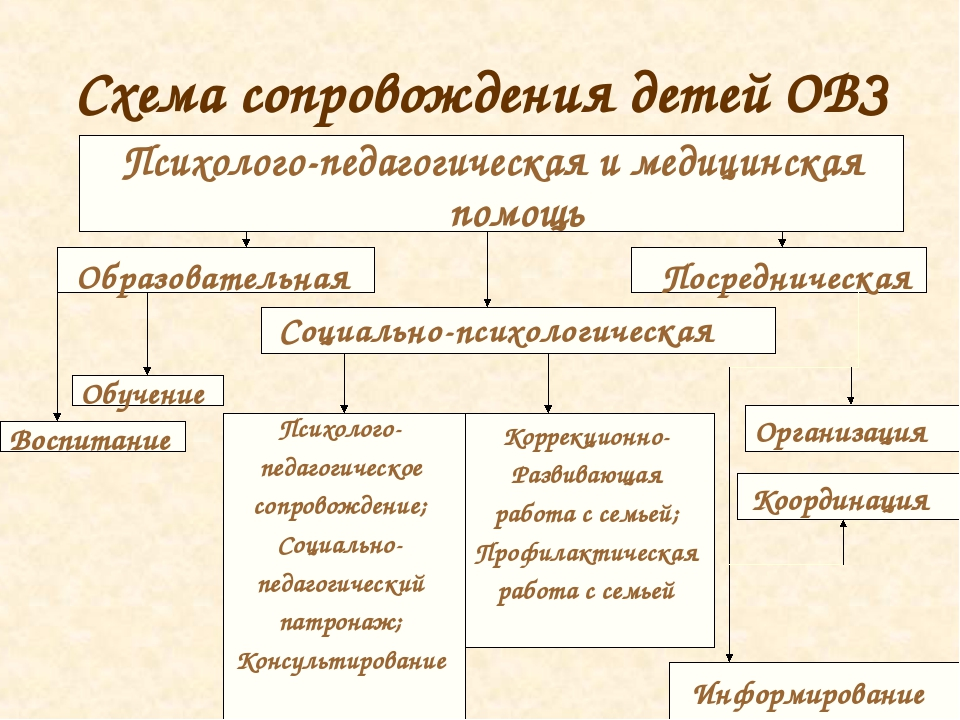 Схема сопровождения детей ОВЗ Образовательная Социально-психологическая Посре...