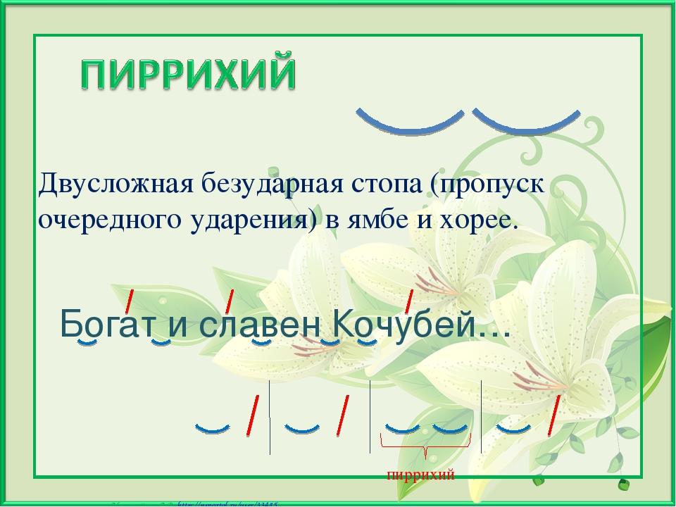 Богат и славен Кочубей… Двусложная безударная стопа (пропуск очередного ударе...