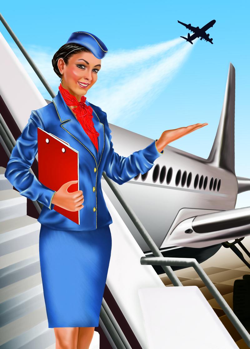 Картинки стюардесса и самолет нарисовать