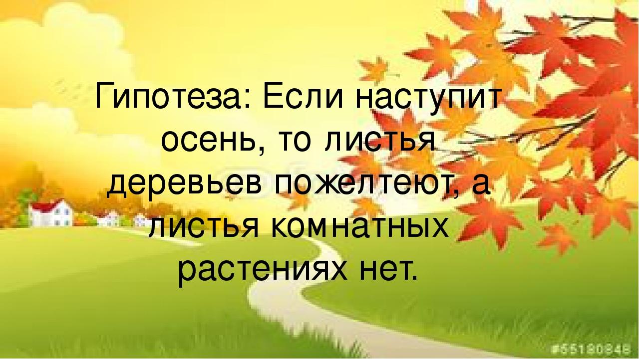 Гипотеза: Если наступит осень, то листья деревьев пожелтеют, а листья комнатн...