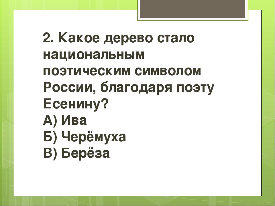 2. Какое дерево стало национальным поэтическим символом России, благодаря по...