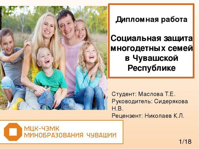 Льготы для многодетных семей дипломная работа 9867
